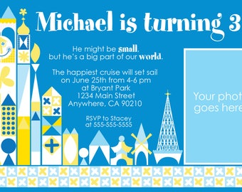 it's a small world birthday blue color scheme party invitation with photo place