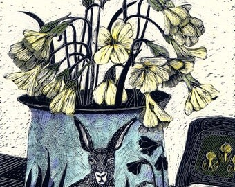 Art Print of Cowslips and Blue Hare Pot of Scraperboard original