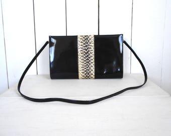 Patent Leather Handbag - Black Yellow Snake Skin Bag - Removable Shoulder Strap Clutch - 1980s Vintage Does 1950s Rockabilly