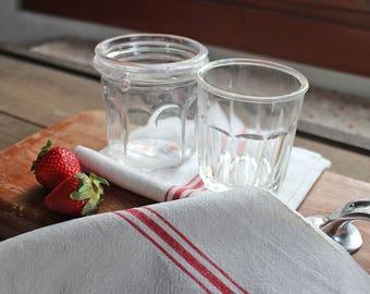 2 Vintage french jam jar - 2 Antique marmelade jar - 2 Antique French Glass jar