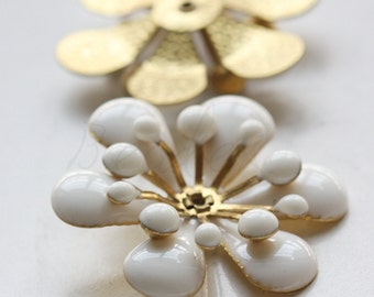 1 Piece / Flower / Brass Base / Enamel