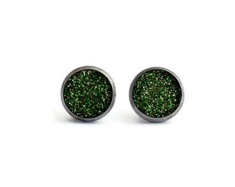 Green Glitter, Shimmering Earrings, Stainless Steel Stud, Glittered Jewelry, Sparkle Studs, Stylish Resin Stud, Gift for Her, Greenery