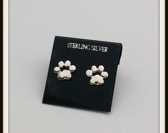 Catpaw prints sterling silver post studs earrings