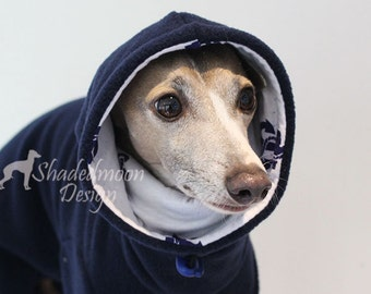 Italian Greyhound -  SHADEDMOON DESIGN - Navy Jammies with Anchor Print jersey lined Snood/Neck Warmer - IMPORTANT - see - 'Item Details'