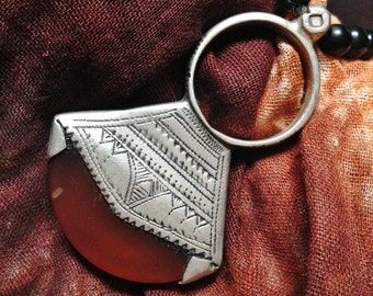 Tuareg Jewelry Hairornament Ring Amulet with Agath, Tuareg Silver