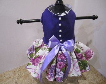 Dog Dress  Purple With Flowers