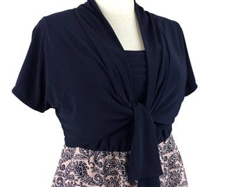 Navy Plus Size Bolero / Cute bolero jacket w/ short kimono style and tie front / Trendy shrug / Plus size clothing xl - 1x - 2x - 3x - 4x