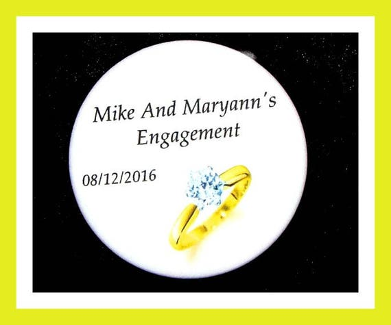 "Engagement Favors,Wedding Ring Party Favors,Bridal Shower Favors,Anniversary Favors, Bride To Be Favors,Button Pin  2.25""  Set of 10"