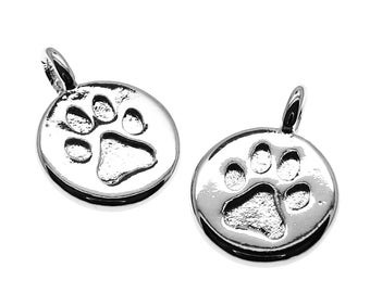 Silver Charms : 2 Paw Print Antique Silver Charms --  Lead, Nickel & Cadmium Free 85371.S