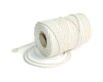 2,5 mm Cotton Rope = 1 Spool = 50 Meters = 55 Yards Natural and Elegant COTTON Twisted CORD - Natural Soft White - Macrame Cord