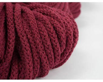 5 mm BURGUNDY RED Cotton Rope= 5 Yards= 4.57 Meters of Elegant Cotton Braided Cord-Bulky Yarn-Knitting Yarn-Crochet Rope-Macrame Cotton Cord