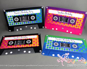 Cassette tapes Invitation, Printable, Retro cassette tape, 80s Invitation, Retro cassette tapes, Retro Party, 80's Birthday | PERSONALIZED