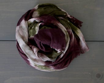 Linen Scarf with Frayed Ends, Linen Scarf, Spring Summer Scarf, Tie Dye Shawl, Eco Friendly Flax Scarf, Shawl, Deception Pass