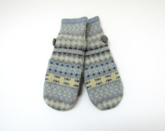 Wool Mittens Fleece Lined Fair Isle in Pale Blue Gray Yellow Pink and Cream Felted Wool Sweater Mittens