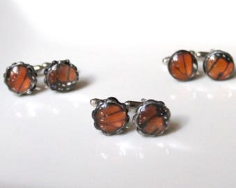 Set of 3 Monarch Butterfly Cufflinks, Groomsmen Cufflinks, Groom Wedding, Mens Fashion