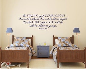 Be strong and courageous Joshua 1 Bible verse scripture vinyl wall decal sticker
