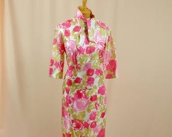 Green and Pink Suit * 60s Suit * 1960s Suit * Mod Suit * Mad Men Suit * Betty Draper * Floral Suit * Silk Suit * Wiggle Skirt