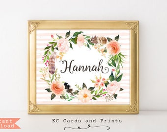 Boho Girl Wall Decor, Hannah, Name Art, Nursery Decor, Custom Baby Name, Nursery Art, Girls Room, Digital Print, Instant Download