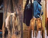 Beautiful drawstring nubuck  fringe bag