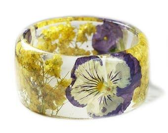 Purple Flower Bracelet- Yellow Bangle- Purple Bracelet- Resin Jewelry- Yellow Resin Jewelry- Flower Bangle- Purple Resin Bracelet
