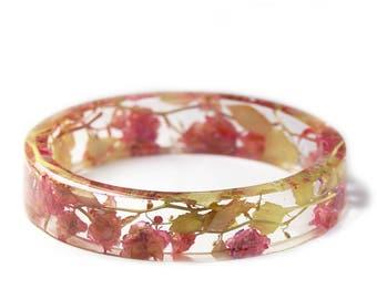 Pink Flower Bracelet - Real Flower Jewelry- Flower Jewelry- Jewelry with Real Flowers- Pink Flowers- Green Bracelet -Resin Jewelry