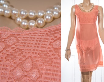Seductive silky soft 'Tabu' warm orange sheer Tricel nylon and delicate lace bodice detail 1970's vintage full slip petticoat - 3802