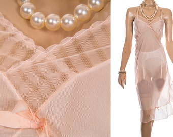 Outrageously sheer 1950's vintage 'Celanese' flimsy floaty pale peach nylon tricot and matching frill detail full slip petticoat - 3865