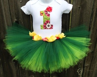 Hula Girl Birthday Tutu Set, and Matching Headband | First Birthday, 2nd Birthday, Third Birthday | Any Number or Letter Available