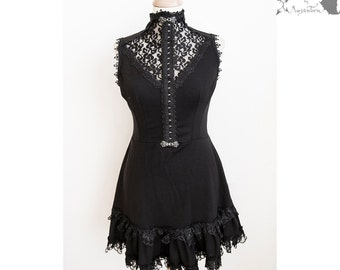 Dress black, romantic goth, lace, steampunk, gothic, Somnia Romantica, approx size medium see item details for measurements