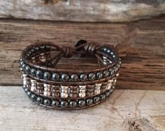 Leather Wrap Bracelet Cuff Tibetan Silver Prayer Wheel, Copper and Hematite Beads