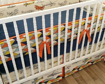 Airplane Crib Bedding- Boy Baby Bedding MADE TO ORDER- Boy Baby Bedding- Vintage Air Bedding- Plane Bedding- Airplane Bedding- Boy