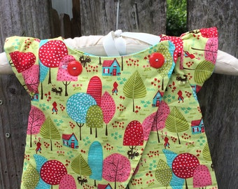 12-18 month Red Riding Hood Pinafore REVERSIBLE short Tunic