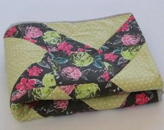 Modern Quilt, Homemade Quilt, Green, Pink & Gray Throw Quilt