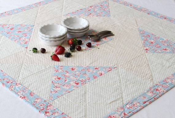 Quilted Red, White Blue Square Table Topper