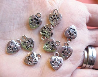 SALE - 10 Dog Heart Paw Charms in Silver Tone