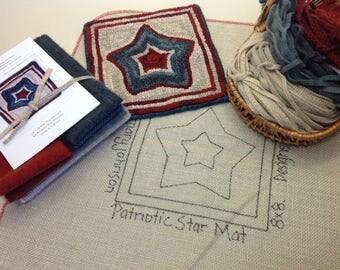 """Rug Hooking KIT, """"Patriotic Star Mat"""", 8"""" x 8"""", K112, Primitive Rug Hooking, DIY Americana Hooked Rug Kit"""