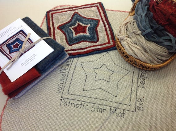 "Rug Hooking KIT, ""Patriotic Star Mat"", 8"" x 8"", K112, Primitive Rug Hooking, DIY Americana Hooked Rug Kit"