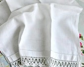 SALE Vintage Tea Towel, Handmade Tea Towel, Crocheted Lace, White Cotton Damask Tea Towel.