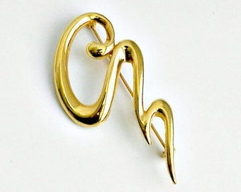 Mid Century Modern Brooch, Abstract Gold Tone Brooch, 1970s Jewelry, Vintage Modern Pin.