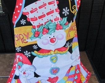 Happy Holidays Snowman Silver Glitter Handmade Ladies Apron