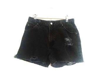 Vintage Distressed Black Levi's Jean Shorts // Levi's Jorts // Black Levi's