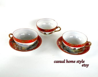 Set of 3 Japanese Tea Cups & Saucers- Etsy Coupons Mix Match Layer Repeat- Textured- FREE SHIPPING
