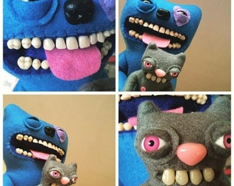 Custom Fuggler™ clutching a cat - MADE TO ORDER. 25cm tall.