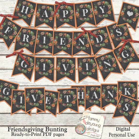 Printable Friendsgiving Banner Happy Friendsgiving bunting