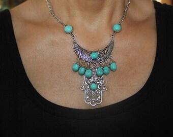 Hamsa necklace, Hamsa charm necklace, boho necklace, tribal necklace, evil eye charm necklace, evil eye, silver hamsa, hamsa charm