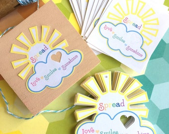 Spread love smile sunshine tags ~ gift tags ~ stickers ~ rainbow party supplies ~ set of 16 ~ happiness tags stickers ~
