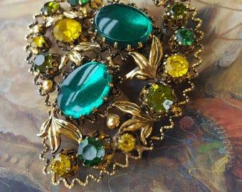Vintage Large Beautiful Rhinestone Brooch Pin