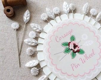 Large Pearl Headed Pin Wheel, wedding  corsage pins