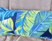 Blue Green Palms Fleece Travel Neck Pillow