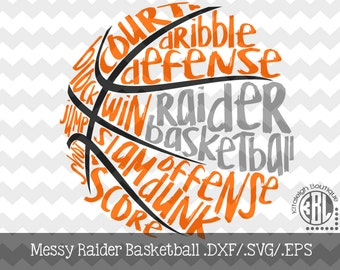 Messy Raider basketball design INSTANT DOWNLOAD in dxf/svg/eps for use with programs such as Silhouette Studio and Cricut Design Space